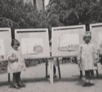 Vintage photo of children painting